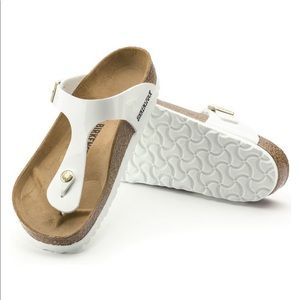 Birkenstock Gizeh Sandals White Patent Birko-Flor